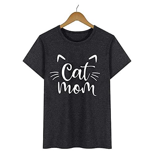 NancyMissY Tシャツ サマーキャット ママ ホワイト柄 Tシャツ カジュアル 半袖 クルーネック レディース トップス
