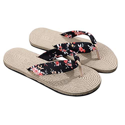 Holibanna 1 par de Sandalias de Paja Flip Flop Zapatillas de Interior de Verano Tejidas Zapatos Casuales Masaje para Mujeres Niñas