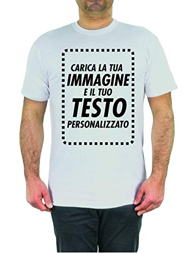 T-Shirt Personalizzata Online Crea Ora la Tua Maglia con Immagine e Testo Personalizzabile Manica Corta (XXL)
