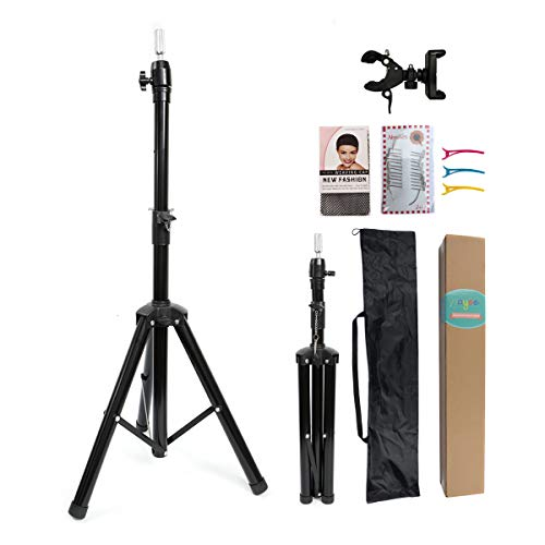 Wig Stand Tripod Metal Adjustable Mannequin Head Stand Holder for Canvas Block Head Hairdressing Cosmetology Enhanced Version Training Wig Head Stand with Smartphone Clamp Mount