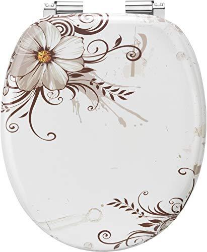 Cornat KSDSC541 - Asiento de inodoro (madera DM, bajada amortiguada), diseño de flores marrones