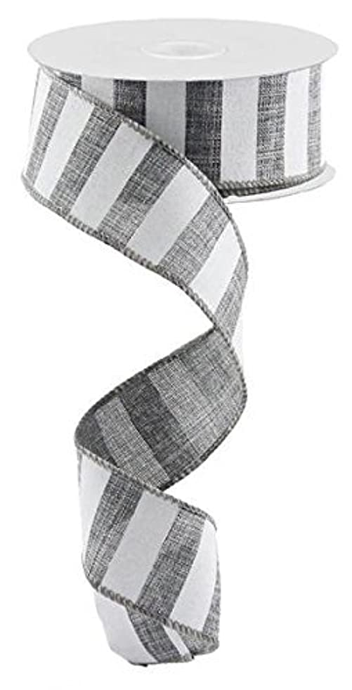 Grey White Striped Fabric Burlap Wired Ribbon (1.5 Inches x 10 Yards) : RX9148R7