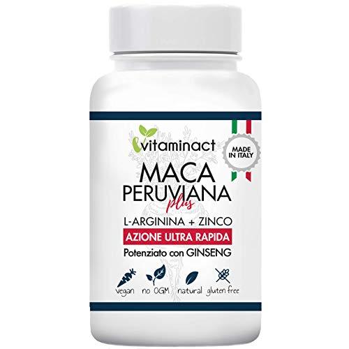 Maca Peruviana Plus Altissimo Dosaggio 1000,00 mg al giorno - Azione ultra Rapida - Potente e Efficace su Testosterone - Massima Durata - Più Massa Muscolare - Forza - Potenziato con Ginseng