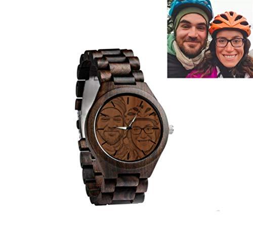 Personalisierte Foto & Text Herren Holzuhren Business Casual Armbanduhren Stilvoll