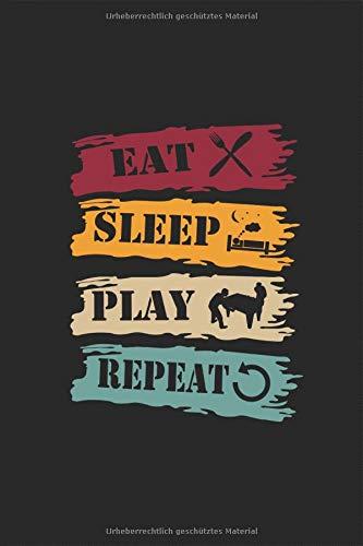 Eat Sleep Play Repeat - Tischfussball Spielen Retro Vintage Notizbuch: Kickern Planen Tisch Fussball Notieren Rechenheft Liniert Journal A5 120 Seiten ... Geschenk für Tischkicker Tischfussballer