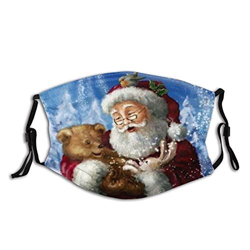 Máscara facial cálida de Papá Noel a prueba de polvo, transpirable, reutilizable, ajustable, lavable, Papá Noel y oso de bebé