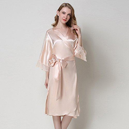 WSAD Bademäntel Europäische Und Amerikanische Mode - Schlafanzug, Langärmelige Pyjama Sexy Bräute, Morgen Roben, Spitzen Bademäntel,Champagner - Farbe