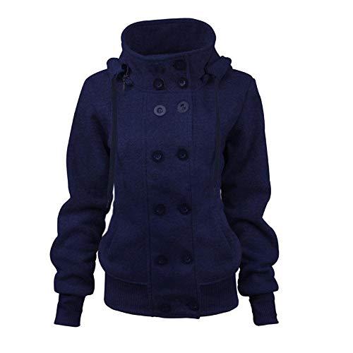 Initial dames winterjas met capuchon gebreide jas twee rijen afneembare lange mouwen dunne jassen katoen kleding