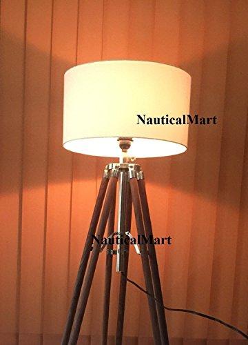 'nauticalmart Royal Nautical Beautiful Huge 74 Wooden Timber Tripod Lamp stand Natural Wood