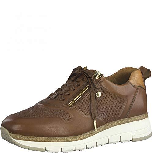 Tamaris Mujer Zapatillas, señora Bajo,Cuña de tacón,Zapatos Bajos,con Cordones,Zapatos de Calle,Zapatillas de Deporte,Cognac,38 EU / 5 UK