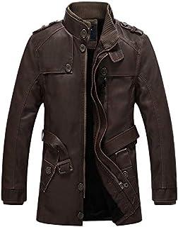 HAWEEL Men Long Style Leather Jacket Coat Windbreaker Jacket