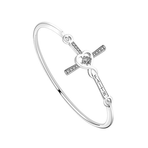 WUSUANED Infinity Love Heart God Cross With'Faith' Inscription Christian Bracelet Religious Gift for Women Girls (FAITH Cross bracelet silver)