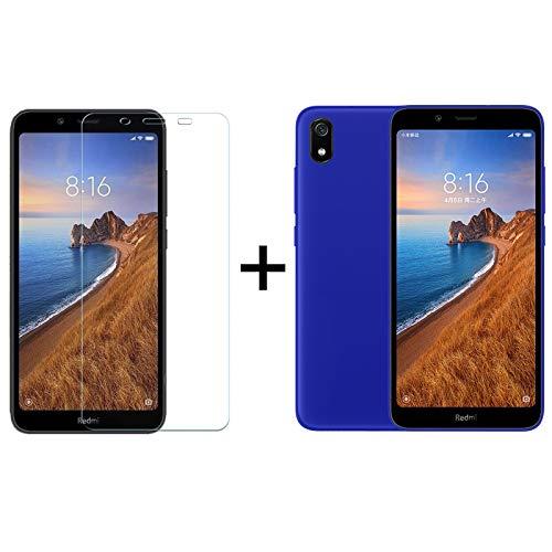 TBOC Pack: Funda de Gel TPU Azul + Protector Pantalla Vidrio Templado para Xiaomi Redmi 7A [5.45 Pulgadas]. Funda Silicona Ultrafina Flexible. Resistente Golpes Caídas Arañazos.