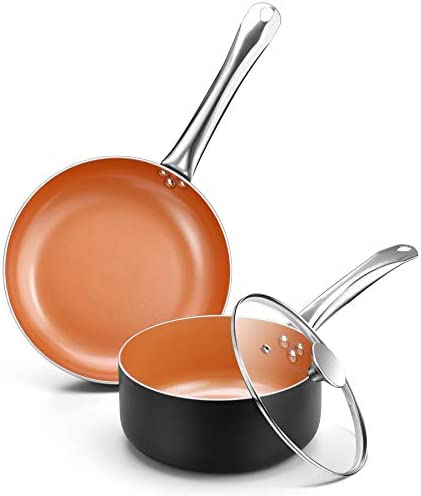Copper Nonstick Cookware Set 10 5 Frying Pan and 3QT Saucepan Set with All Stove Tops Compatible product image