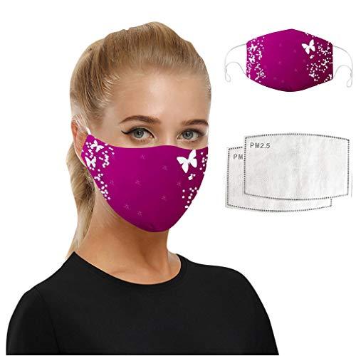 WEXCV 1pc Face Cover + 2pcs Filters Mundschutz Multifunktionstuch Motorrad Winddicht Atmungsaktiv Mundschutz Halstuch Schön Atmungsaktiv Sommerschal (B)