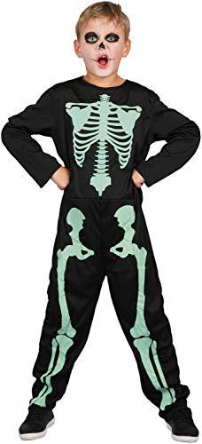 U LOOK UGLY TODAY Kinder Kostüm Halloween Skelett Jumpsuit Ganzkörperanzug Karneval Verkleidungsparty Cosplay für Jungen - M