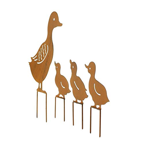 Garden Ornaments,Garden Stakes Iron Cute Ducks Family Plugin Lawn Decoration Animals for Indoor Outdoor Greenhouse 4pcs