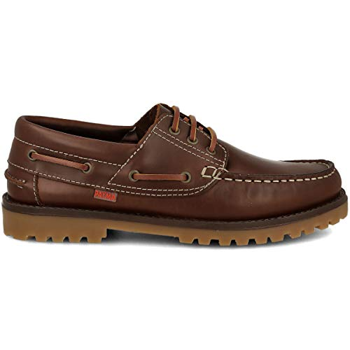 PAYMA - Zapatos Náuticos Sport Casual Hombre, Piel, Piso de Goma, Cierre Cordones, Marrón, 42 EU