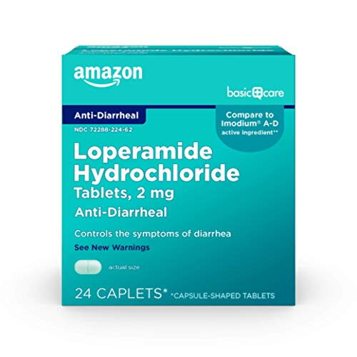 Amazon Basic Care Loperamide Hydrochloride Tablets, 2 mg, Anti-Diarrheal, Light Green, 24 Count (Pack of 1)