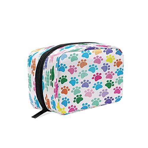 BOLOL - Bolsa de maquillaje con estampado de huellas de animales de arco iris, bolsa de aseo grande, bolsa de viaje para mujeres y niñas, organizador portátil, bolsa de almacenamiento