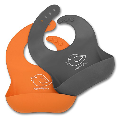 Waterproof Silicone Bib Easily Wipes Clean! Comfortable Soft Baby Bibs Keep Stains Off! Spend Less Time Cleaning After Meals with Babies or Toddlers! Set of 2 Colours (Orange/Gray)