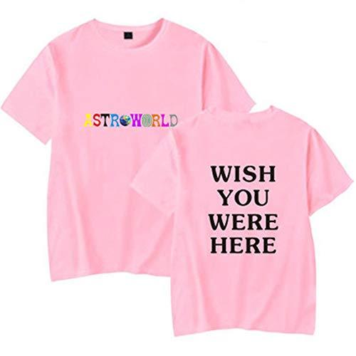 LAIDAN Men's Tank Top - Travis Scotts ASTROWORLD - Wish You were HERE Print Short Sleeve Top Vest Summer Sport Vest Jacket Unisex Casual Short-Sleeved Fun Shirt - Teen Coat Gift,Pink,XL