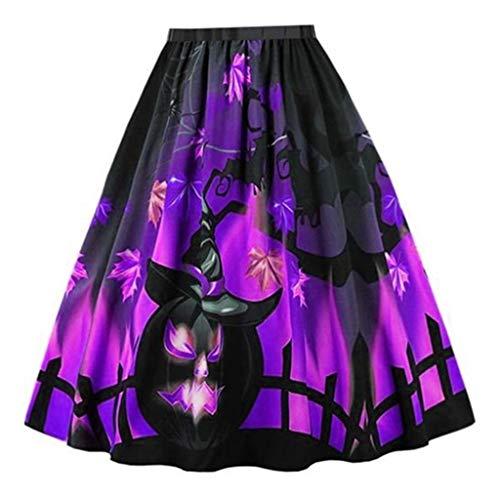 Zarupeng Damen Halloween Rockabilly Röcke Beiläufige Lose Hohe Taille Plissee Rock Knielang Vintage Swing Midirock