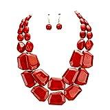 uniklook declaración capas filamentos Chunky Mixed Perlas Collar Pendientes Set Regalo Bijoux (turquesa)
