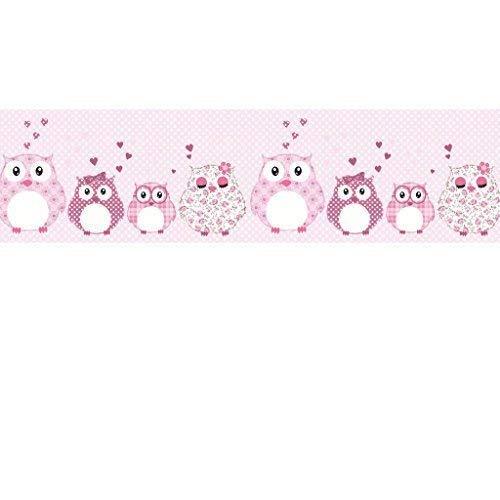 Livingstyle & Wanddesign Vlies Bordüre selbstklebend fürs Kinderzimmer Wandtattoo Patchworkeulen rosa