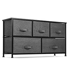 5 Drawer wide fabric storage organizer for closets, bedrooms, playrooms, and more Sturdy steel frame wood top with smooth finish Soft fabric drawers with Easy pull-out fabric handles Adjustable-height plastic feet to prevent wobbling and floor damage...