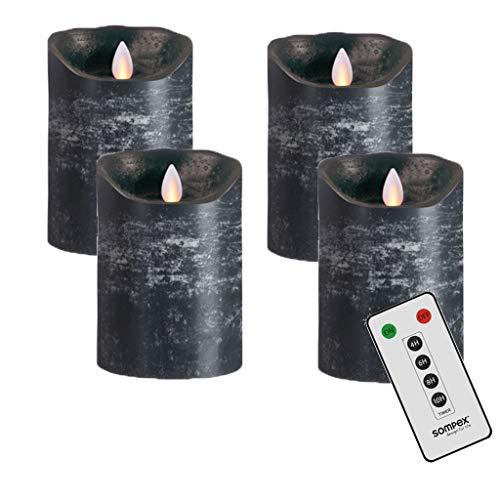 Sompex Flame LED Kerzen V14 - Juego de 4 coronas de Adviento (12,5 cm, con mando a distancia), color gris