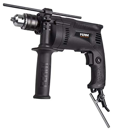 FERM PDM1050P Professional Impact Drill 710W, 13mm, Metal Gear housing, Lock-on Switch and Depth Limiter, 710 W, 230 V, Black