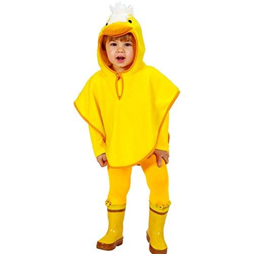Amakando Traje de Pato Niños - 105 - 110 cm, 3 - 4 años | Disfraz Infantil de Gallina | Disfraz de Patito | Poncho Carnaval Gallinita