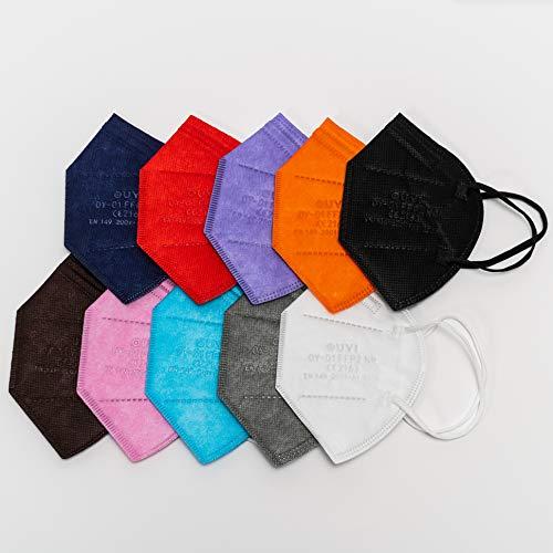10x Mascarillas FFP2 NR Homologadas y Certificadas CE - Surtido de colores - Embolsado individual para mayor higiene y comodidad - Protección contra polvo y partículas (pack 10)
