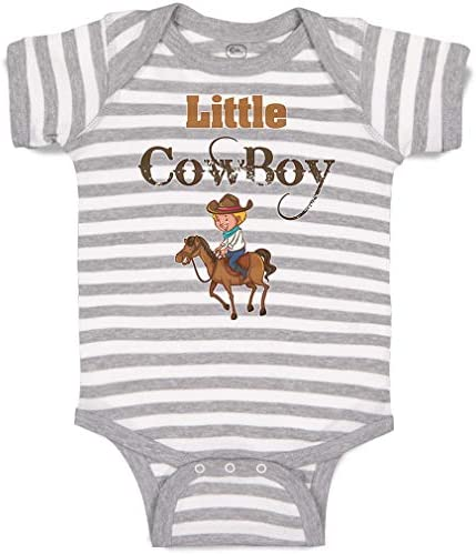 Custom Personalized Baby Bodysuit Little Cowboy Western Funny Cotton Boy Girl Striped Baby Clothes product image