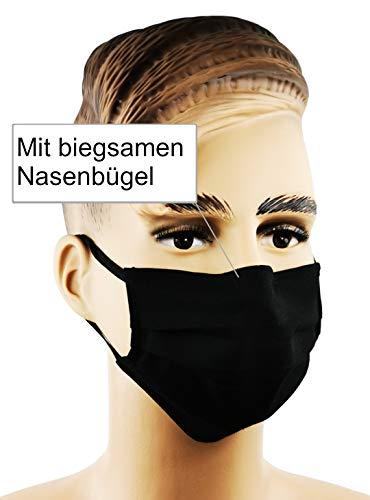 GIDUTEX Mund-Nasen-Maske mit Nasenbügel 5er Pack (Schwarz)