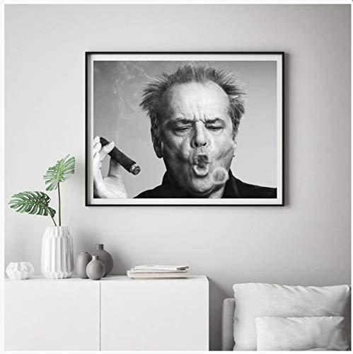 Jack Nicholson Zigarre Poster Wand Kunstdruck Bild Schwarz Und Weiß Leinwand Malerei Für Wohnzimmer Moderne Dekoration 50X70 cm Ohne Rahmen