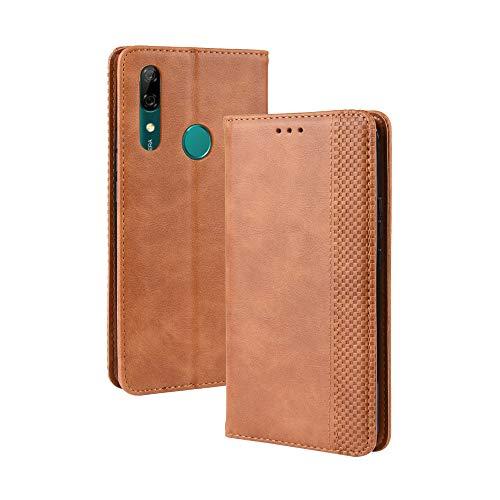 LAGUI Kompatible für Huawei Honor 9X Hülle, Leder Flip Hülle Schutzhülle für Handy mit Kartenfach Stand & Magnet Funktion als Brieftasche, braun
