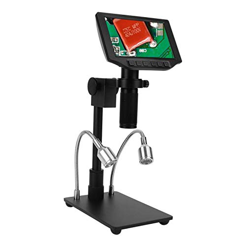 Digital Microscope Electric Microscopes with 16MP FHD 5 Inch Adjustable LCD Screen Video Recorder for Phone Repairing Jewelry Identify US Plug 110V-240V(HY-5300)