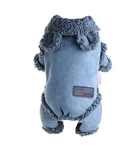 TFWJ Haustier Kleidung Hundemantel Herbst Winter Warm Gepolstert Jacken Overall mit Vier Beinen Winterjacke Kleider,M