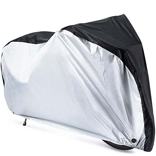 Waterproof Bicycle Cover 210D Outdoor Anti Dust Rain UV Protection Bike Rain Cover for Mountain Bike/Road Bike with Storage Bag (Silver,S)
