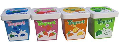 Kaufladenzubehör, Joghurt Erdbeer, Blaubeer, Orange, Apfel aus Holz