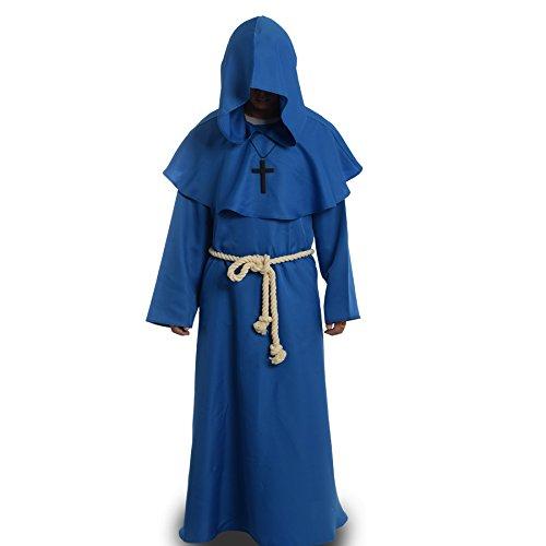 BLESSUME Disfraces de Monje Sacerdote Túnica Fraile Medieval Capucha Encapuchado Monje Renacimiento Túnica Disfraz (S, Azul)
