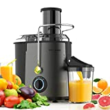 Juicer Machines Juice Extractor 800W - MAMA'S CHOICE Centrifugal Juicer Wide Feed Chute for Whole Fruits Vegetables Quick Extract Juicer with 3 Speed Mode Easy to Clean Anti-drip Non-Slip Feet (Gray)