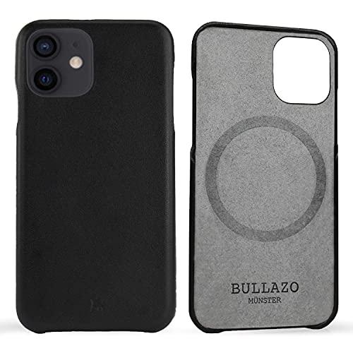 BULLAZO Menor Classic – Compatible con iPhone 12/12 Pro 6,1 pulgadas, funda de piel, color negro