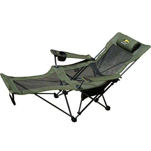 HM&DX Outdoor Klappstühle Camping stühle mit fußablage Verstellbar Kompakt Campingstühle Liege Für Camping wandern Strand Angeln Garten -Armeegrün