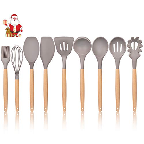 K Kwokker Kitchen Utensil Set Silicone 9 Pieces Cooking Dinnerware with Wooden Beech Handles Heat-resistant Slotted and Flexible Turner Spatula Slotted Spoon Soup Ladle Serving Spoons Whisk Basting Br