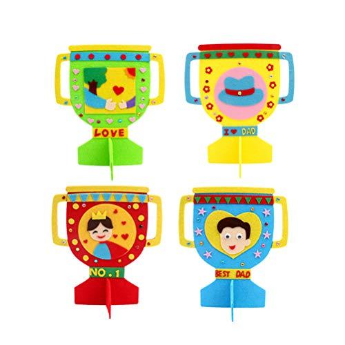Amosfun niños haciendo kit DIY trofeo educativo artesanal juguete para regalo del día de padres (patrón mixto)