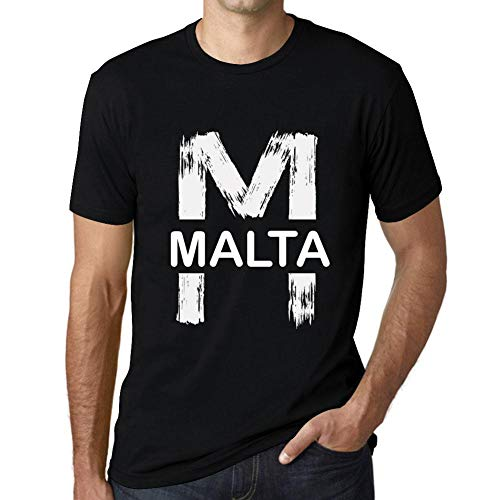 One in the City Hombre Camiseta Vintage T-Shirt Gráfico Letter M Countries and Cities Malta Negro Profundo