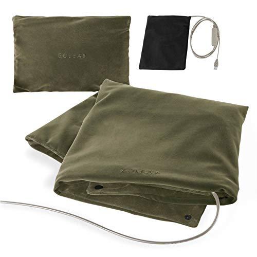 エレコム エクリアwarm USBブランケット ホッと癒やされ42℃ A4サイズに小さくまとまる モバイルバッテリーOK 洗濯可 タイマー機能 ミニポケット ボタン付き 3WAY オリーブカーキ HCW-B01GN